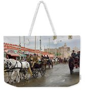 Parade Of Horse Drawn Carriages On Antonio Bienvenida Street Wit Weekender Tote Bag