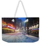 Paramount Snowstorm Boston Ma Washington Street Weekender Tote Bag