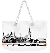Pardubice Skyline City Black Weekender Tote Bag