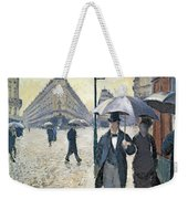 Paris A Rainy Day Weekender Tote Bag by Gustave Caillebotte