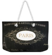 Paris Black And White Gold Typography Home Decor - French Script Paris Wall Art Home Decor Weekender Tote Bag