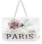 Paris Dreamy Pastel Pink Roses On Paris Book - Romantic Paris Roses And Books Shabby Chic Art Weekender Tote Bag