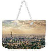 Paris Eiffel Skyline And Cityscape Aerial View At Sunset From Montparnasse Tower Observation Deck  Weekender Tote Bag