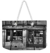 Paris France Book Store Library Black And White Weekender Tote Bag