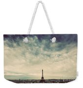 Paris, France Skyline With Eiffel Tower. Dark Clouds, Vintage Weekender Tote Bag
