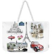 Paris Landmarks. Illustration In Draw, Sketch Style.  Weekender Tote Bag