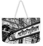 Paris Metro Sign Bw Weekender Tote Bag