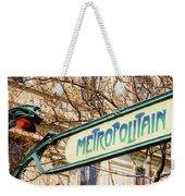 Paris Metro Sign Color Weekender Tote Bag