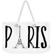 Paris Typography Weekender Tote Bag