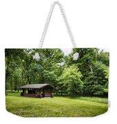 Park Shelter In Lush Forest Landscape Weekender Tote Bag