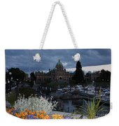 Parliament Building In Victoria At Dusk Weekender Tote Bag