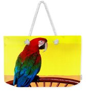 Parrot Sitting On Chair Weekender Tote Bag by Garry Gay