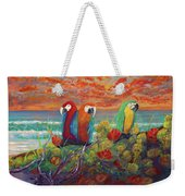 Parrots On Sunset Beach Weekender Tote Bag