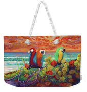 Parrots On The Beach Painterly Weekender Tote Bag