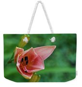 Partially Open Pink Lily Blossom Weekender Tote Bag