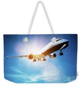 Passenger Airplane Taking Off, Sunny Blue Sky. Weekender Tote Bag