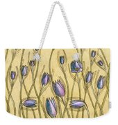 Pastel Floral Pattern On Soft Yellow Background Weekender Tote Bag