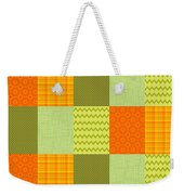 Patchwork Patterns - Orange And Olive Weekender Tote Bag