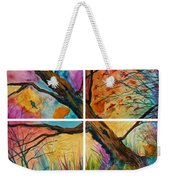Patchwork Sky Tree Painting With Colorful Sky Weekender Tote Bag