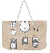 patent art Edison 1890 Lamp base Weekender Tote Bag