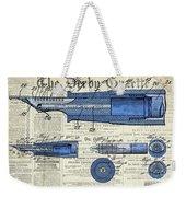 Patent, Old Pen Patent,blue Art Drawing On Vintage Newspaper Weekender Tote Bag