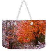 Path In Fall With Early Snowfall Weekender Tote Bag