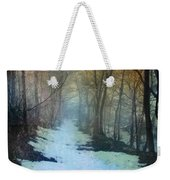 Path Through The Woods In Winter At Sunset Weekender Tote Bag by Jill Battaglia