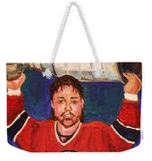Patrick Roy Wins The Stanley Cup Weekender Tote Bag