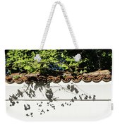 Patterned Sunshine - Ginkgo Shadows On A White Stucco Wall Weekender Tote Bag