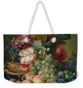 Paulus Theodorus Van Brussel - Still Life Of Flowers And Fruit On A Stone Ledge, Weekender Tote Bag