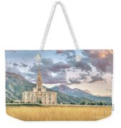 Payson Utah Lds Temple, Sunset View Of The Mountains And Grass Weekender Tote Bag