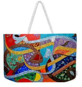 Peace Love And Hope Arabic Inspirational Calligraphy Weekender Tote Bag by Riad Belhimer