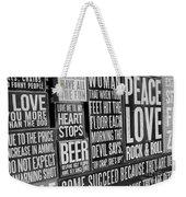 Peace, Love And Rock N Roll Weekender Tote Bag