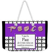 Peace Spanish - Bw Graphic Weekender Tote Bag