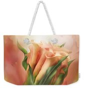 Peach Calla Lilies In Calla Vase Weekender Tote Bag