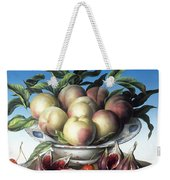 Peaches In Delft Bowl With Purple Figs Weekender Tote Bag