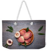 Peaches On A Dark Wooden Background Weekender Tote Bag