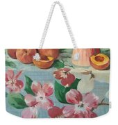 Peaches On Floral Tablecloth Weekender Tote Bag