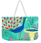 Peacock And Birdbath Weekender Tote Bag