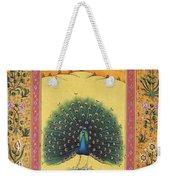Peacock Dancing Painting Flower Bird Tree Forest Indian Miniature Painting Watercolor Artwork Weekender Tote Bag