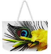 Peacock Feather And Gladiola 4 Weekender Tote Bag