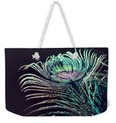 Peacock Feather With Dark Background Weekender Tote Bag