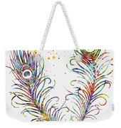 Peacock Feathers-colorful Weekender Tote Bag