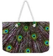 Peacock Feathers Upside Down Weekender Tote Bag