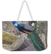 Peacock On Woodpile Weekender Tote Bag
