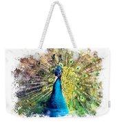 Peacock Watercolor Painting Weekender Tote Bag