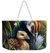 Peahen And Chick Weekender Tote Bag