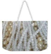 Pearl Beads - White And Beige Weekender Tote Bag