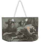 Peasant Boy Asleep Near Two Sheep Weekender Tote Bag