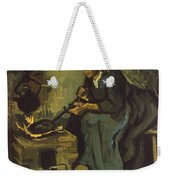 Peasant Woman Cooking By A Fireplace Weekender Tote Bag